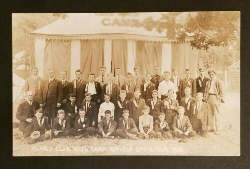 1915 Mint Oregon State Fair Boys Club Camp No 427 Real Picture Postcard