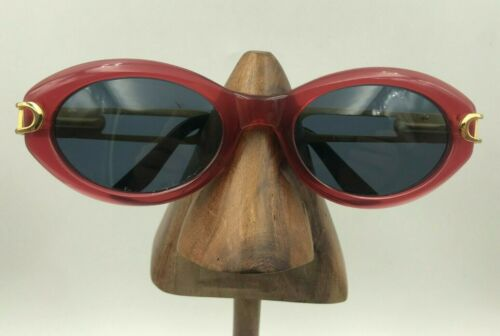 Vintage Sunsweet 4082 W895 Red Oval Gold Oversized Sunglasses Frames Italy