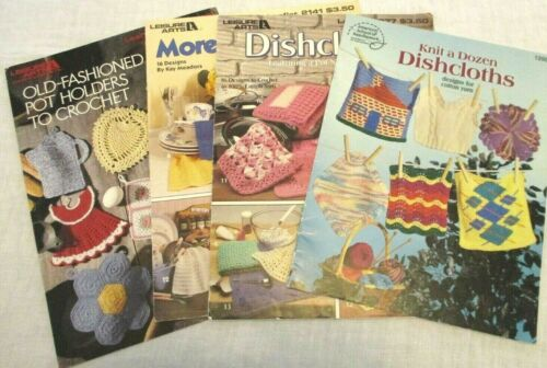 Crochet Knit Dish Cloths Pot Holders Patterns Lot of 4 Old Fashioned Style Vtg