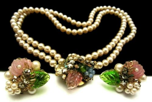 Rare Early Miriam Haskell Faux Pearl Glass Rhinestone Necklace & Earring Set A15