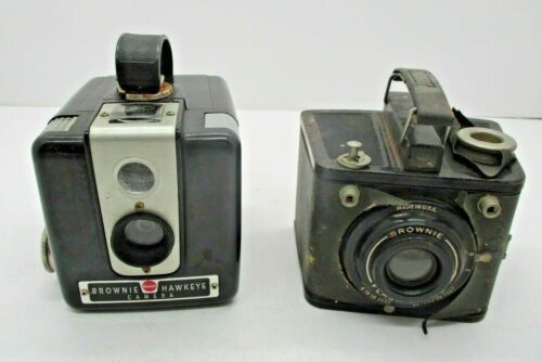 2 Vintage Brownie Cameras Hawkeye and Flash Six-20 For PARTS REPAIR