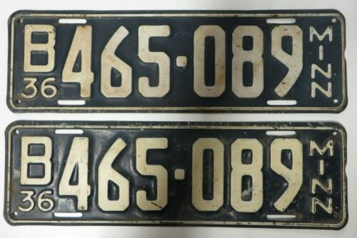 Vintage 1936 Minnesota License Plate Tag B 465-089 Matching Number Pair Antique