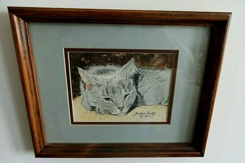 "WATERCOLOR ""CAT NAPPING"" FRAMED UNDER GLASS SIGNED BY ARTIST JOCELYN BEATTY 1983"