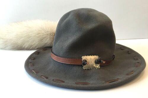 Wool Mountain Man Foofaraw Hat, Conch Adornment, White Fox Tail, Medium USA