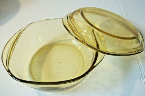 1.5 Qt Amber Glass Covered Casserole Baking Dish Made In Mexico 8 X 8 X 3