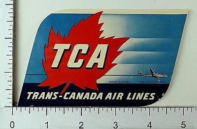 1940S 50S Trans Canada Air Lines Tca Maple Leaf Luggage Label Poster Stamp E10