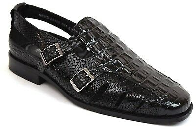 Men's Stacy Adams Fisherman Sandals Black Leather Horback Python Print 25169