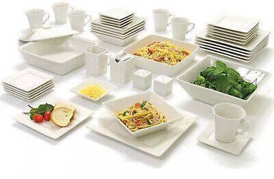10 Strawberry Street Nova Square Banquet 45-Piece Dinnerware Set, Cream White Dinnerware Set Cream