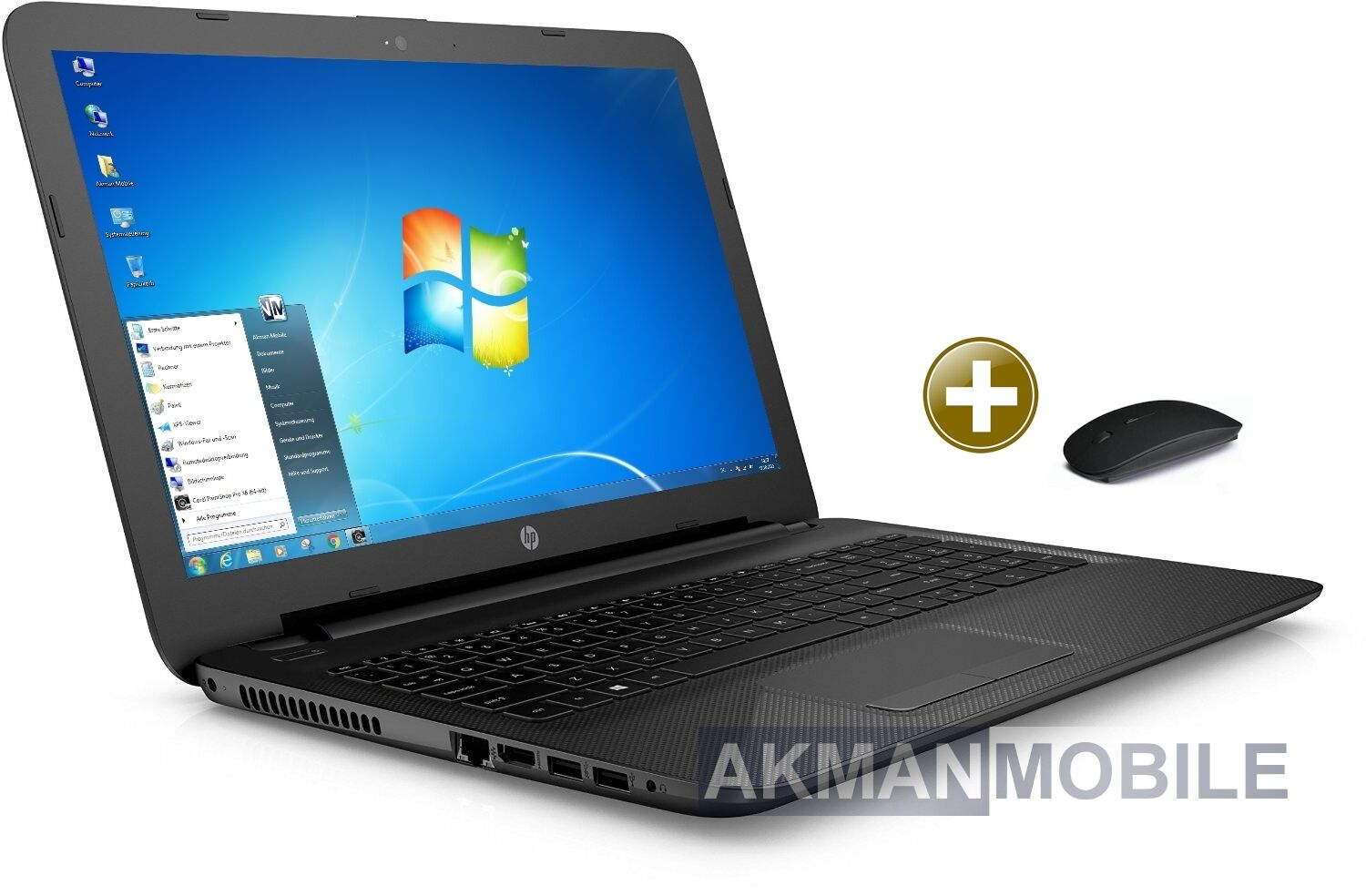 "HP 15 - QuadCore Notebook - 15,6"" - AMD E2-7110 - 500GB - 8GB - WebCam-Windows 7"