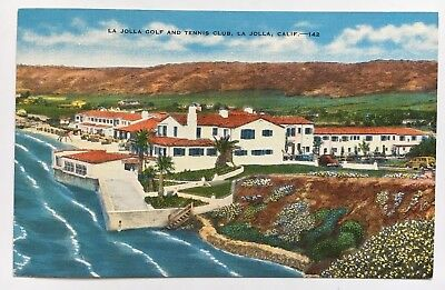 Ca Postcard La Jolla California Golf And Tennis Club Pacific Ocean Flowers Linen