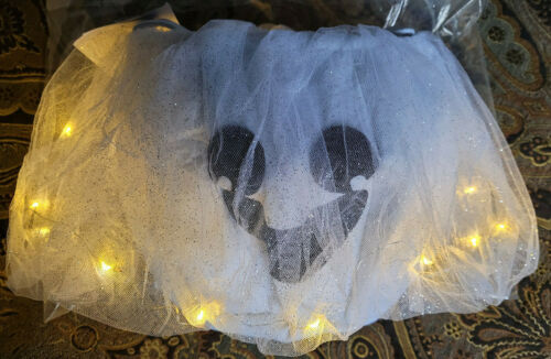 Pottery Barn Kids Light Up GHOST Tulle Halloween Treat Bag NEW