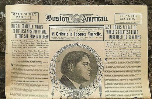 "ORIGINAL- RMS TITANIC "" TITANIC SECTION "" of the BOSTON AMERICAN NEWSPAPER c1912"