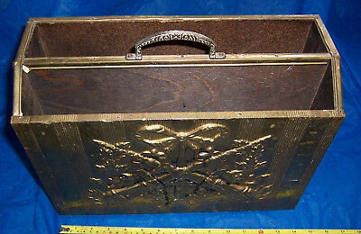 Vintage retro handy brass and wood magazine/newspaper rack used see details