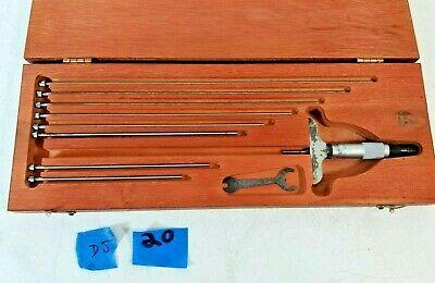 Vintage Starrett Depth Micrometer Set No. 440 With Wooden Case