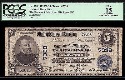 5  1902 Pb  Farmers And Merchants National Bank Of Reno  Rare Nevada National