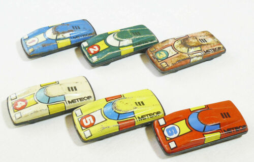 Vintage Soviet Russian Set Tin Baby Racing Cars Meteor Original Box 6 PCS USSR