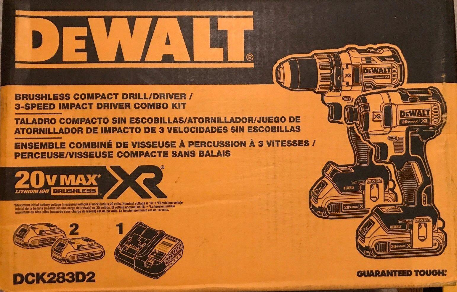 DEWALT DCK283D2 20V 20 Volt Li-Ion Brushless Drill & Impact