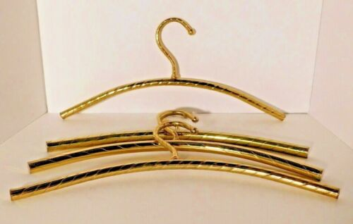 Vtg. Twisted Gold Brass Metal Tubular Clothes Hangers Set of 4