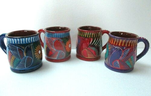 Coffee Cup Set of 4 Mexican Hand Painted Clay Pottery Bird