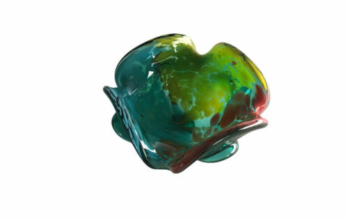 Vtg End of The Day Candy Bowl Nut Dish Mid Century Hand Blown Art Glass