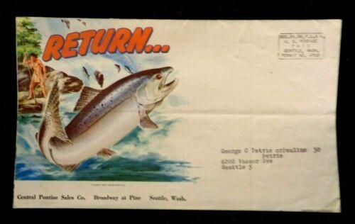 Vintage PONTIAC AD BROCHURE Central Car Sales Seattle Native Fishing Salmon art