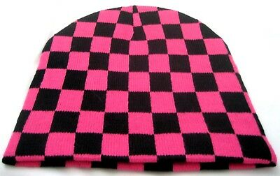 Hot Pink and Black Checker Checkered Winter Knitted Skull Beanie Ski Cap-New! Hot Pink Checker