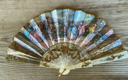 Spanish Casa de Diego hand fan. Simulated mother of pearl Handle