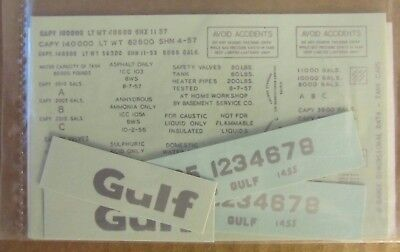 NOS WALTHERS O SCALE DECAL - GULF REFINING TANK CAR #1455 (silver lettering)