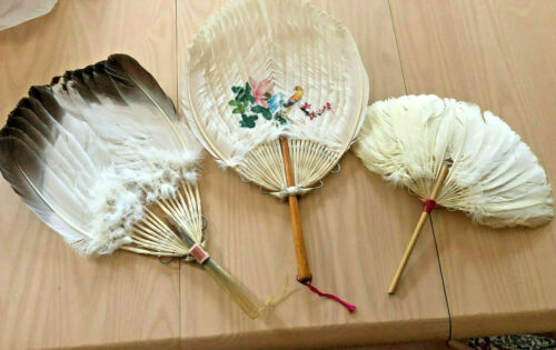 Three Chinese Feather Fans mid 20h Cent. One Handpainted Very Good Condition