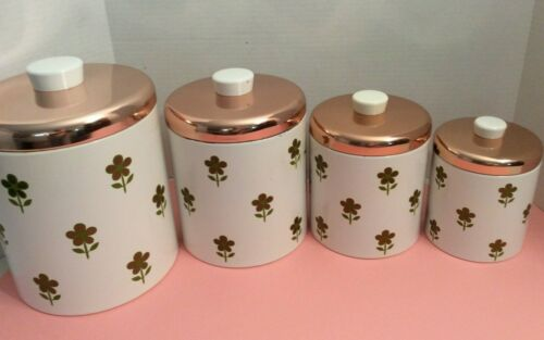 Lovely Set of Vintage Ransburg Kitchen Canisters  Floral Pattern Copper Lid