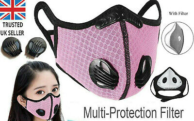 NEW Pink Black PM.25 Filter Valve Face Mask Womens Anti Dust Nose Gym Reusable