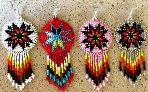 Handmade beaded Native style Artisan Multi-Color Hook Earrings