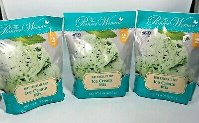 (3) Pioneer Woman Mint Chocolate Chip Ice Cream Mix Package Makes 2 Quarts YUM!!