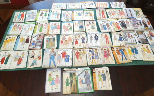 Vintage sewing patterns, lot of 57, 1950