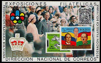 Bolivia  Michel   Blk80 Mini Sheet Of Xxi Juegos Olimpicos  Reina Isabel Ii  Mnh