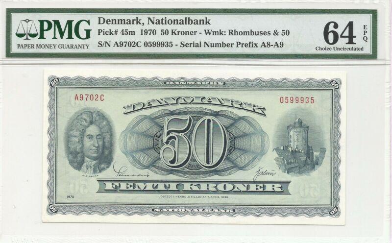 DENMARK P45m 50 KRONER 1970 PMG 64 EPQ RHOMBUSES & 50