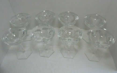 Set of Eight Signed Baccarat French Crystal Champagne Coupes / Tall Sherberts