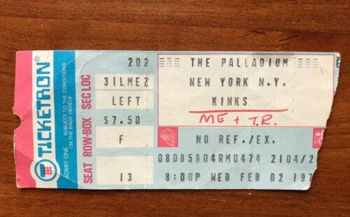 The Kinks RARE Ticket Stub 1977 The Palladium New York City