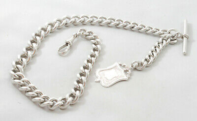 Victorian Silver Albert Chain & Fob Henry Pope Birmingham 1899 88.7g 40cm FZX