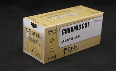 Veterinary Chromic Gut Absorbable Suture Size 4-0 Needle Nfs-2 12box