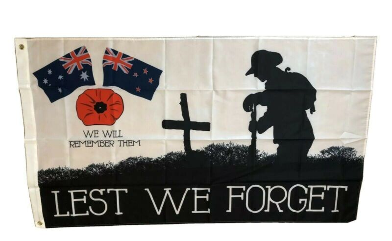 ANZAC Lest We Forget Poppy Flag..150 X 90