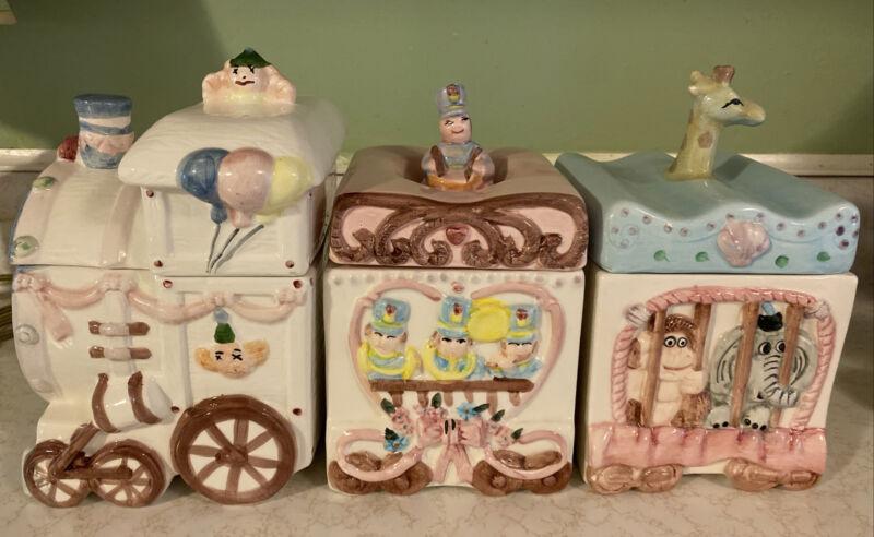 Vintage Primark Three Piece Ceramic Canister Circus Train Set