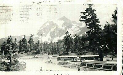 Washington Cascades (Postcard RPPC Mount Shuksan Washington Cascades 1957 Old Buses and Cars)