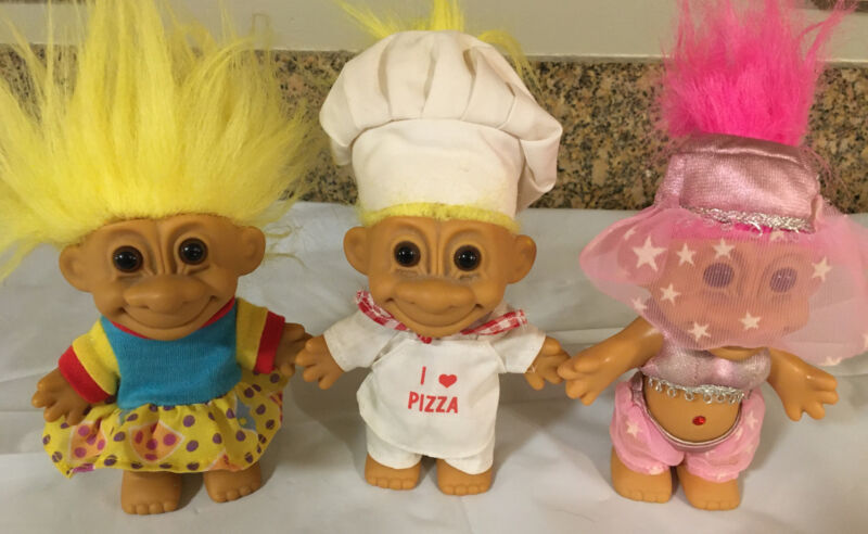 """~5"""" Tall Vintage Lot of 3 Trolls by Russ - Chef, Girl and Belly Dancer"""