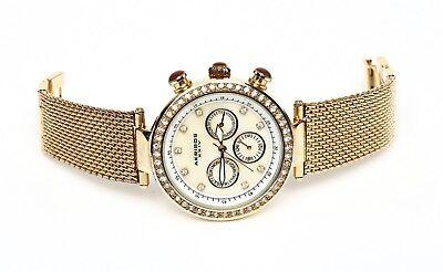 Akribos XXIV Women's Multi Function Mesh Gold Watch 0484