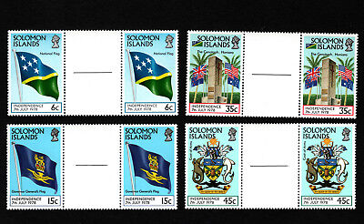 OPC 1978 Solomon Islands Independence Gutter Pairs Set Sc#369-372 MNH 34057