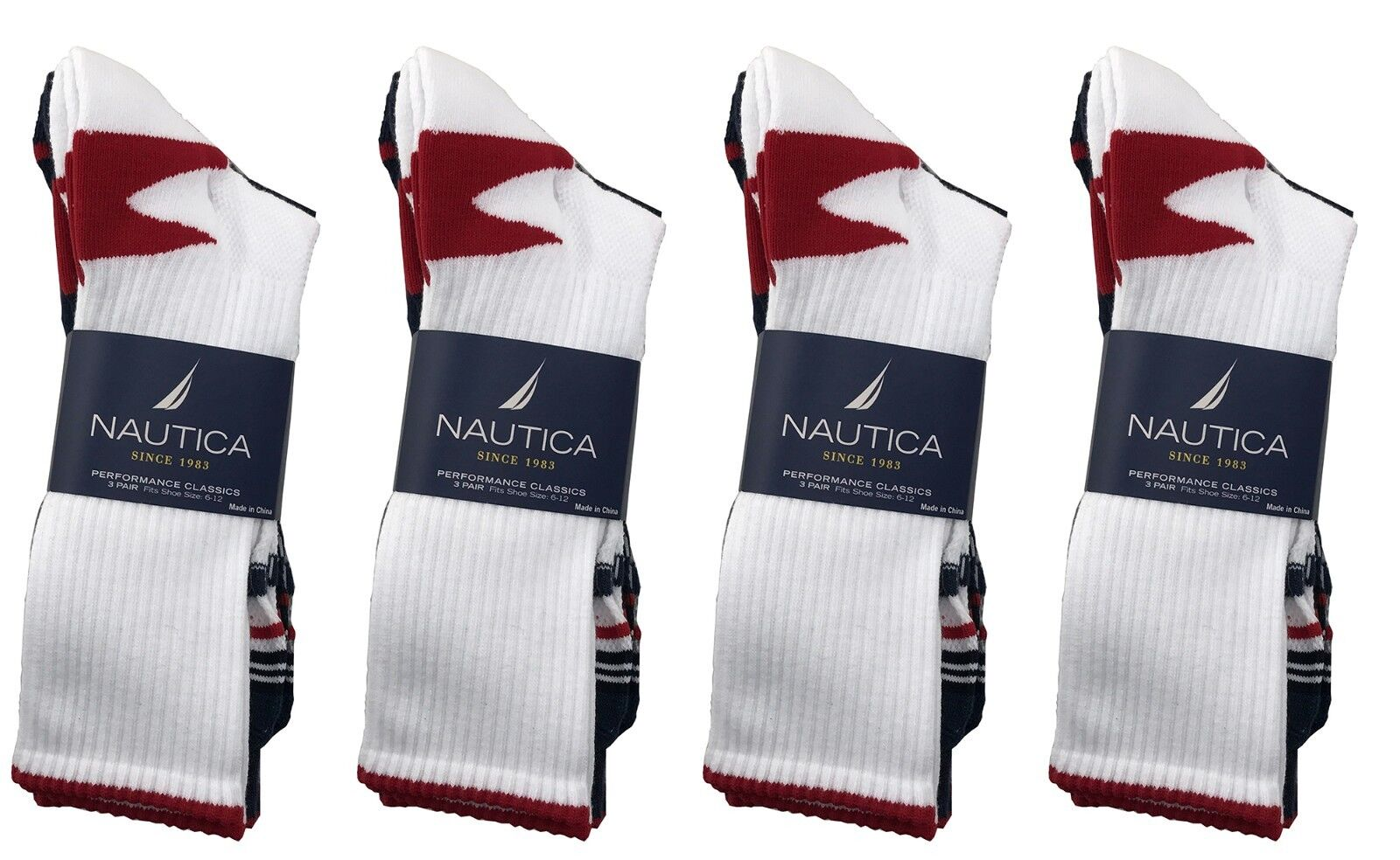 12 Pairs Nautica Mens Crew Sports Socks 10-13 Shoe Size 6...