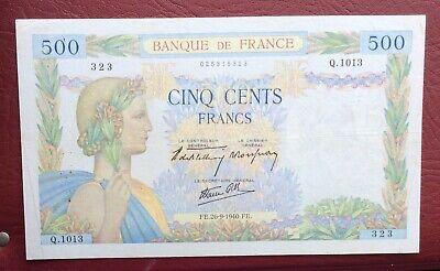 France - Très Joli Billet de 500 Francs du 26-9-1940  «La Paix»