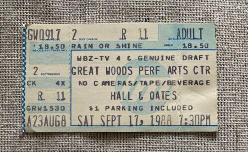 HALL & OATES Ticket Stub 9/17/1988 Great Woods Arts Center Mansfield, MA Boston