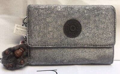 NWT KIPLING pixi snap medium trifold wallet silver glimmer